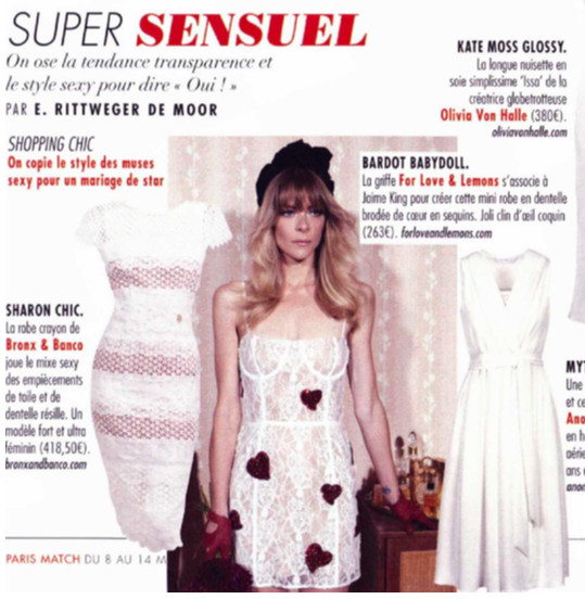 Beautiful dresses of Bronx & Banco and For Love & Lemons featured in Paris Match