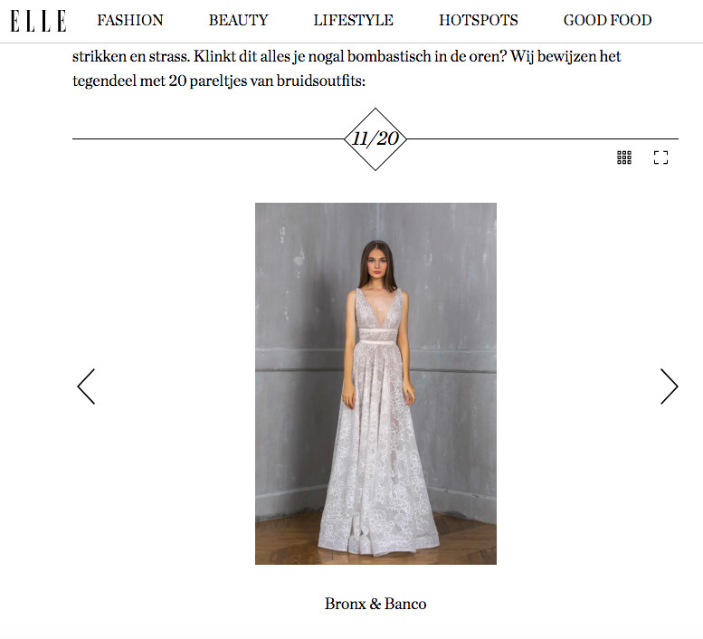 Beautiful Bronx & Banco bridal gown featured on the website of ELLE Belgium