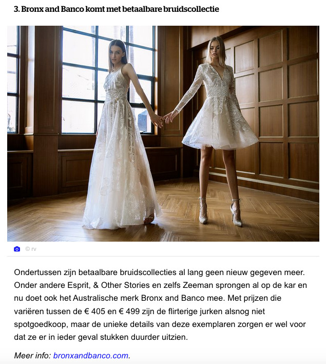 Bronx & Banco bridal collection shown on the website of the journal Het Laatste Nieuws