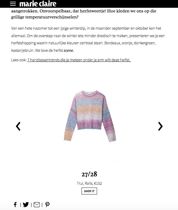 Colourful Rails sweater featured in a shopping on MarieClaire.be