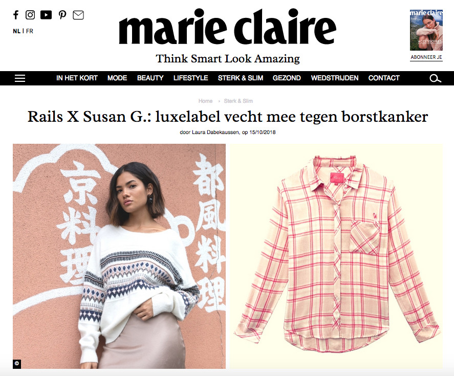 Pink Rails X Susan G. blouse shown on MarieClaire.be