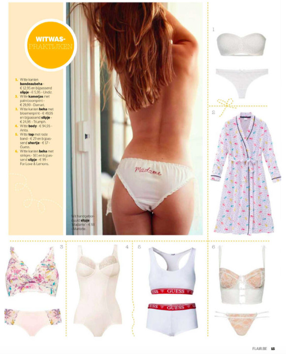 For Love & Lemons SKIVVIES featured in the weekly magazine Flair