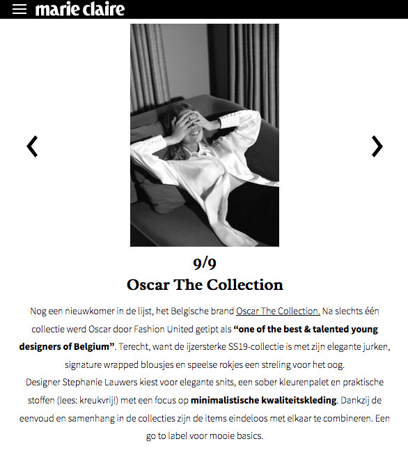 Oscar The Collection featured on MarieClaire.be