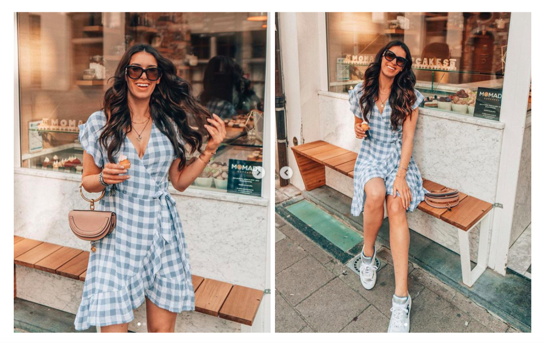 Influencer Nathalie Van den Berg wearing a cute Rails dress